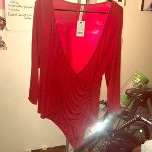 Beautiful cherry red faux wrap around bodysuit